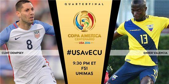 '코파 아메리카 2016' 8강전 미국-에콰도르. 사진='코파 아메리카 2016' 공식 트위터 계정