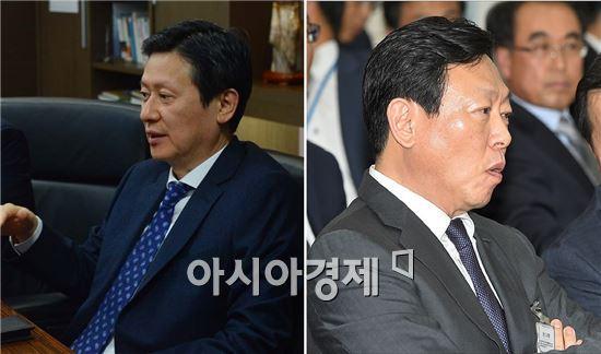 신동주 전 일본롯데홀딩스 부회장(왼쪽)과 신동빈 롯데그룹 회장.