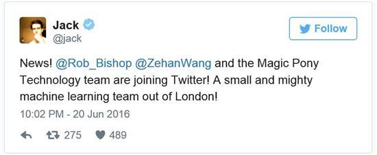 잭 도시 트위터 CEO가 '매직 포니'를 인수했다고 트위터로 발표했다.