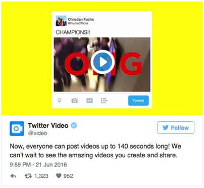 트위터, 동영상 길이 제한 140초로 확대