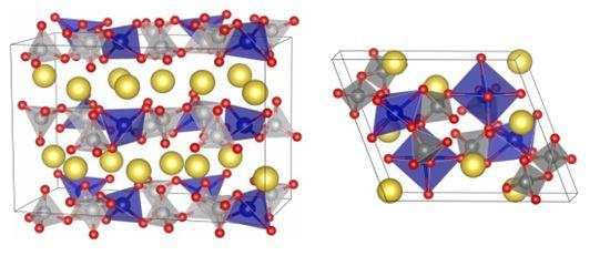 ▲파이로인산염 기반 푸른색 합성물, 붉은색 합성물의 결정구조(왼쪽부터).[사진제공=기초과학지원연구원]