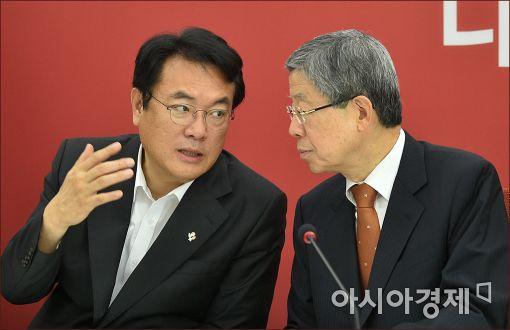 정진석 새누리당 원내대표(왼쪽)와 김희옥 혁신비대위원장