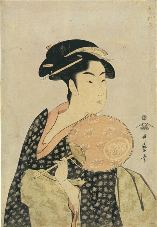 당시 게이샤의 모습은 우키요에 비진가를 통해 확인할 수 있다. 사진 = 『간세이 세 미인(寬政三美人)』 중 <다카시마 오히사, 高島おひさ>, 기타가와 우타마로, 종이에 목판인쇄,  25.6*37, 18세기, 도쿄 국립박물관