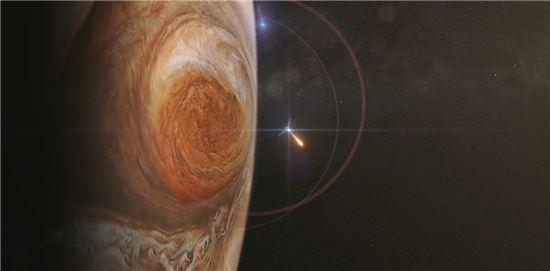 ▲주노 탐사선이 5일 오후 12시16분에 목성 궤도에 진입한다.[사진제공=NASA]
