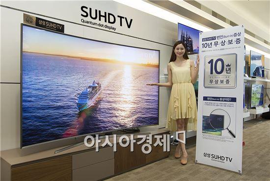 ▲삼성전자 모델이 'SUHD TV 번인 증상 10년 무상 보증 프로그램'을 소개하고 있다.(제공=삼성전자)