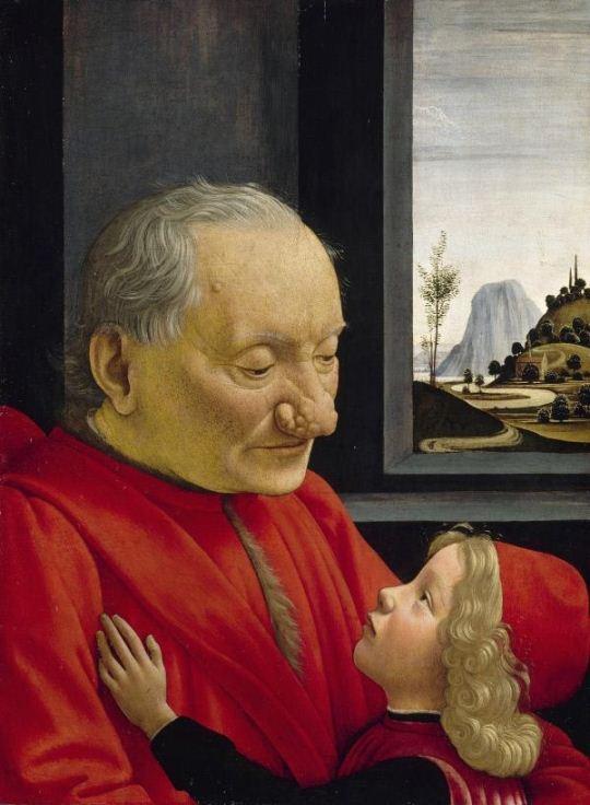 노인과 소년의 초상(1490), 도메니코 기를란다요 作