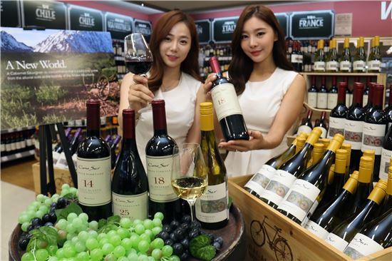 7일 서울 한강로 이마트 용산점에서 모델들이 남미를 대표하는 와인 '코노 수르'를 선보이고 있다.