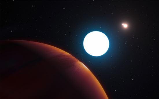 ▲어린 외계행성과 세 개의 별을 가진 멀티 항성계 시스템이 발견됐다.[사진제공=European Southern Observatory/L. Cal?ada]