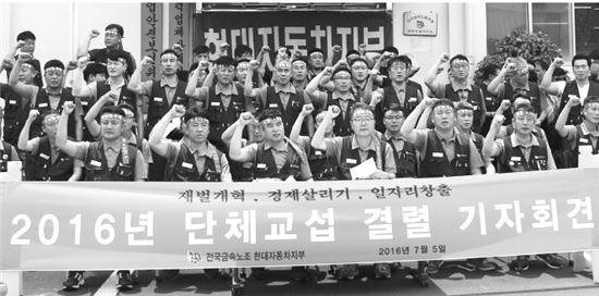 현대차노조가 5일 파업을 예고하는 교섭결렬 기자회견을 열고 있다.<사진이미지=현대차노조>