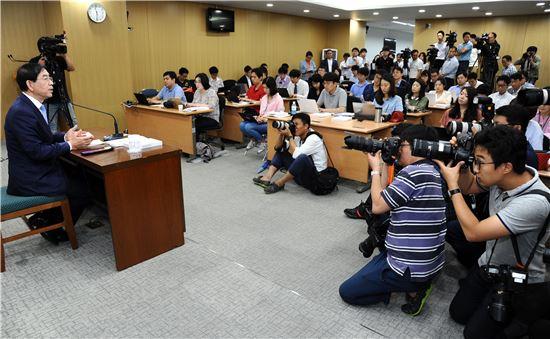 박원순 시장 기자회견 취재 장면