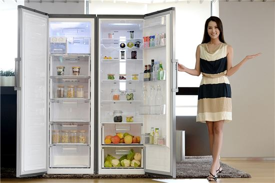 LG전자 모델이 서울 영등포구 여의대로에 위치한 LG 트윈타워에서 문이 하나인 냉장고와 냉동고인 '컨버터블 패키지'를 소개하고 있다.