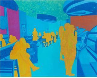 조은주, 'Blue 서울의 카페'. 장지에 채색, 130.3 x 162cm. 2014. (사진 = 한국미술평론가협회)