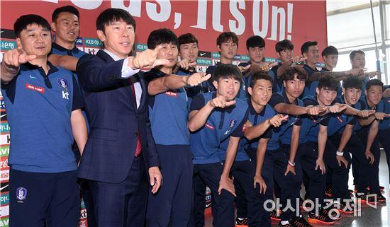 [포토]올림픽 축구대표팀, '선전을 다짐하며'