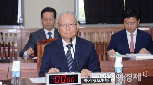 [포토]국회 정보위 시작 기다리는 이병호 국정원장