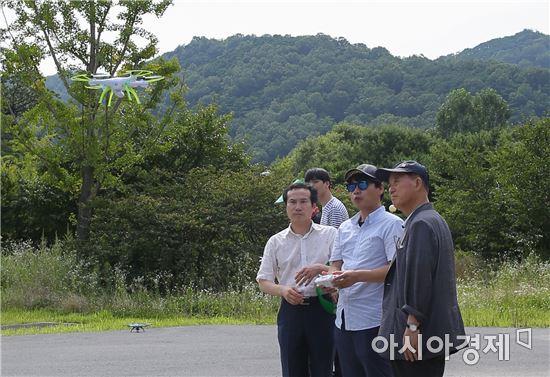 [포토]광주 동구평생학습센터, 드론 비행 현장체험
