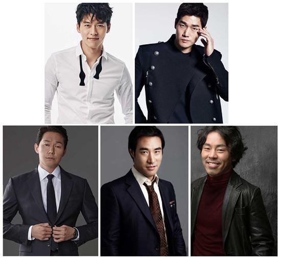 상단 왼쪽부터 시계방향으로 현빈, 유지태, 최덕문, 배성우, 박성웅
