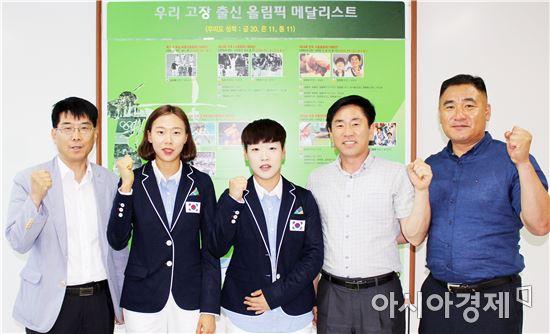 목포시청 하키팀의 김현지,이유림(왼쪽부터 두,세번째) 선수가 지난 15일 리우올림픽 참가 출국 인사차 전라남도체육회를 방문해 파이팅을 외치며 선전을 다짐했다.