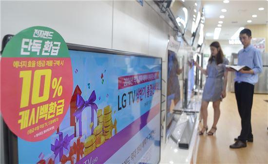 전자랜드프라이스킹, 1등급 TV·세탁기 10% 추가 환급