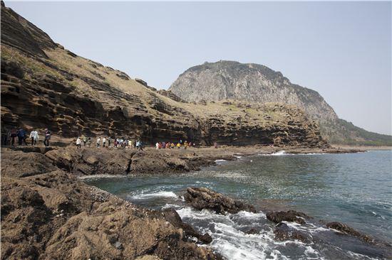 산방산 아래에는 제주가 신혼여행지로 복작대던 시절부터 인기 관광지인 용머리해안이 자리한다.