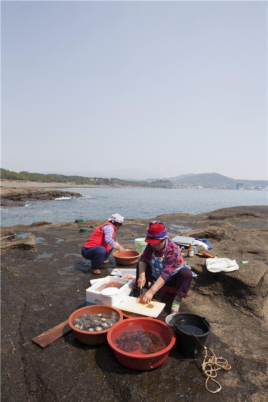 해녀 아줌마들의 노점은 싱싱한 자연산 해물천지다.