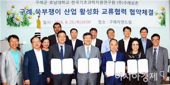 구례군(군수 서기동)은 지난 25일 구례자연드림파크에서 호남대학교, 한국기초과학지원연구원, ㈜구례삼촌과 쑥부쟁이 산업 활성화를 위한 연구 인프라 활용 및 교류협력 협약을 체결했다.