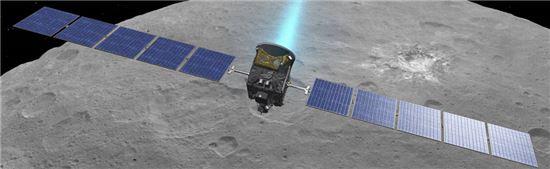▲왜소행성 '세레스'를 탐험하고 있는 돈 탐사선이 공전궤도를 상승시킨다.[사진제공=NASA]
