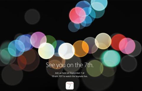 미국 스마트폰 제조업체 애플이 지난달 29일(현지 시간) IT 매체와 애널리스트에게 다음 달 7일 신제품 공개 행사에 초청한다는 초대장을 보냈다. 애플은 이 자리에서 아이폰7을 공개할 전망이다. (사진=애플 홈페이지)