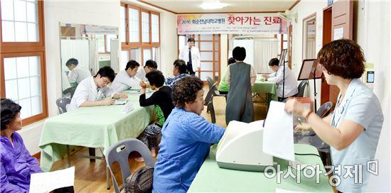 화순전남대병원 의료진들이 고흥의 의료소외지대에서 '찾아가는 진료'를 펼치고 있다.