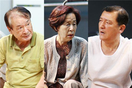 연극 '사랑별곡'에 출연하는 배우 이순재-손숙-고인배(왼쪽부터)        [사진=스토리P 제공]