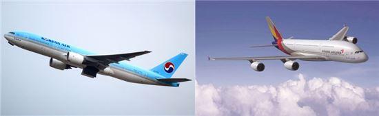 (좌)대한항공 (우)아시아나항공