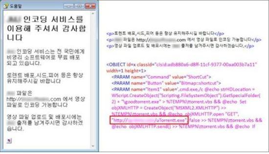 가짜 파일을 통해 해커에게 연결을 유도하는 화면(제공=이스트소프트)