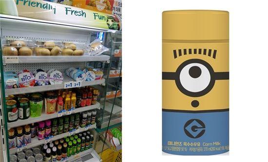(왼쪽)12일 중구의 한 편의점에서는 미니언즈 우유가 진여된 매대에 골든키위가 진열됐다. 미니언즈 우유가 입고되자마자 팔리며 품귀현상을 빚고 있는 탓이다. (오른쪽)미니언즈 옥수수우유.