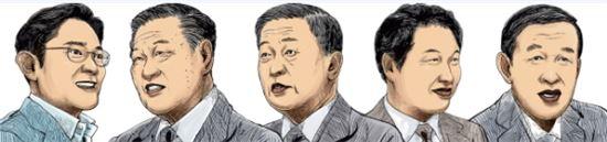 ▲(왼쪽부터)이재용 삼성전자 부회장, 정몽구 현대차 회장, 구본무 LG 회장, 최태원 SK 회장, 허창수 GS 회장