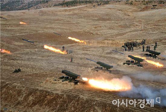 북한 미사일 발사 훈련 모습. [자료사진]