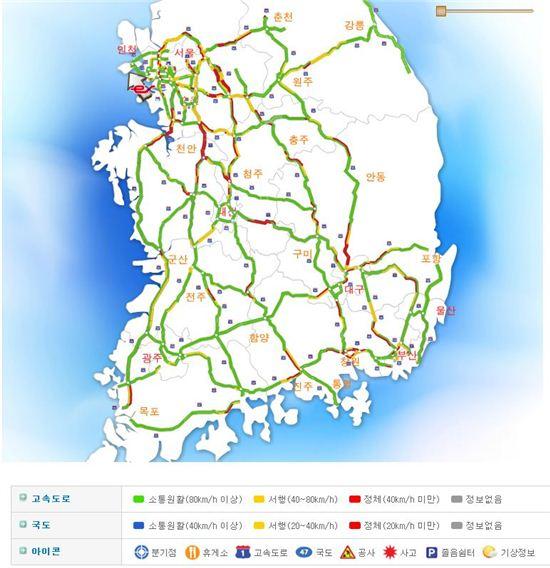 전국 주요 고속도로 교통상황. 사진=한국도로공사