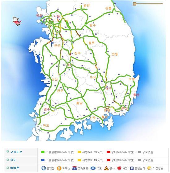 전국도로교통상황. 사진=한국도로공사