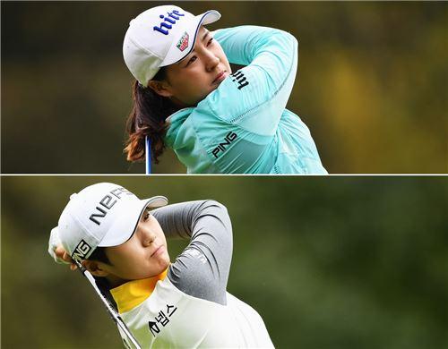 전인지(왼쪽)와 박성현이 에비앙챔피언십 첫날 호쾌한 드라이브 샷을 날리고 있다. 에비앙(프랑스)=LPGA