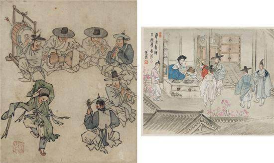 김홍도의 '무동'(사진 왼쪽)과 신윤복의 '주사거배'