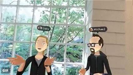오큘러스로 아바타를 활용해 지인들과 파티룸에서 대화하는 모습