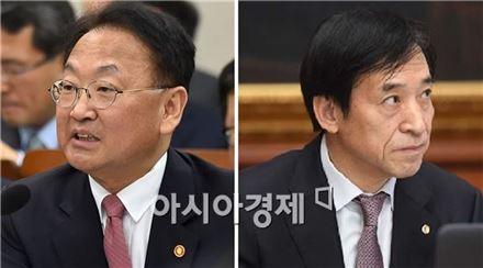 유일호 경제부총리 겸 기획재정부 장관(왼쪽)과 이주열 한국은행 총재(아시아경제 DB)