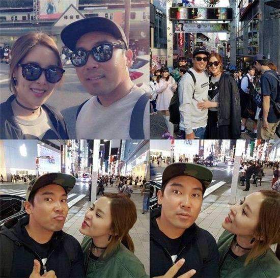 연인인 야구선수 박용근과 행복한 일본 데이트를 즐기는 채리나/사진=채리나 인스타그램 캡처