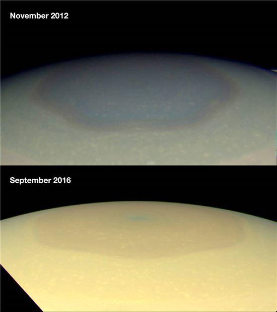 ▲계절마다 토성 북극의 육각형 소용돌이에 색깔 변화가 있는 것으로 나타났다.[사진제공=NASA]