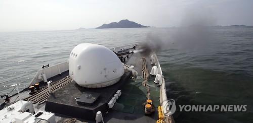 해경 함포 사격 훈련. 사진 출처=연합뉴스