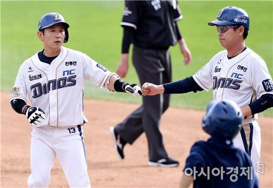 [포토]손시헌, '선두타자 출루했어요!'