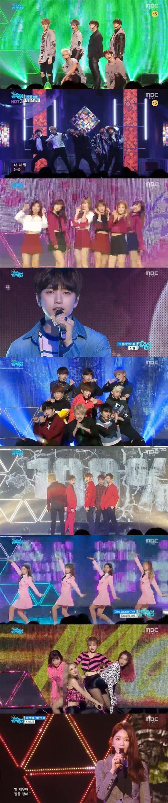 갓세븐 방탄소년단 에이핑크 산들 SF9 백퍼센트 크레용팝 마틸다 다비치. 사진=MBC '음악중심' 방송 캡쳐