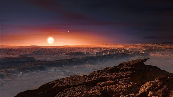 ▲프록시마 센타우리 항성과 프록시마 b 행성을 상상한 이미지.[사진제공=ESO]