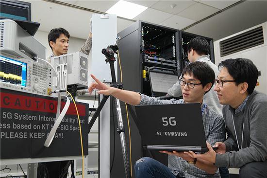 [포토]KT-삼성전자, 세계 최초 5G 규격 기반 '퍼스트 콜' 성공