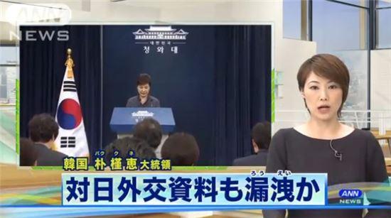 ▲ANN 방송의 대일 외교자료 유출 방송 장면. (사진 = 방송 캡쳐)