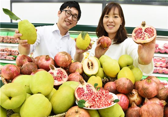 27일 서울 서초구 농협하나로마트 양재점에서 모델들이 환절기 감기예방에 좋은 올해 첫 출하된 모과와 석류를 선보이고 있다. 농협유통은 모과와 석류를 100g당 각각 450원, 1250원에 판매한다.