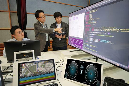 현대기아차가 자동차 커넥티드 카에 최적화된 소프트웨어 플랫폼 개발에 착수했다. 'ccOS(Connected Car Operating System)'로 명명된 현대기아차의 독자적인 커넥티드 카 운영 체제는 자동차 커넥티비티 환경을 안정적으로 구축하고 방대한 데이터를 신속하게 가공, 처리할 수 있는 고도화된 소프트웨어 플랫폼을 가리킨다. 사진은 현대기아차 연구소 직원들이 ccOS 테스트를 진행하고 있는 모습.